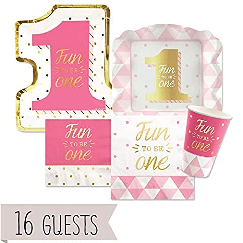 Fun to be One - 1st Birthday Girl with Gold Foil - Bundle for 16