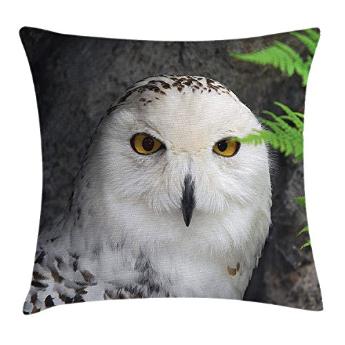 Wizard Throw Pillow Cushion Cover, Pattern White Owl Themed Animal Green Leaves Amber Eyes Gift Witchcraft Print, Decorative Square Accent Pillow Case, 18 X 18 Inches, White Green ()