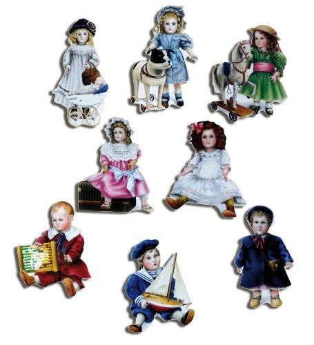 Kühlschrankmagnete Nostalgie Magnete für Magnettafel Kinder stark 8er Set lustig mit Motiv Vintage Puppen