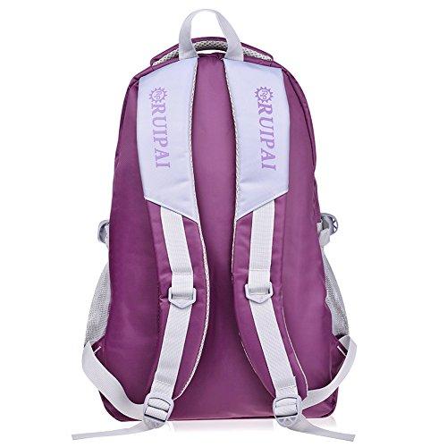 Leefrei Schulrucksack Schulranzen Schultasche Sports Rucksack Freizeitrucksack Daypacks Backpack für Mädchen Jungen & Kinder Damen Herren Jugendliche mit der Großen Kapazität (Lila-Blume) - 2