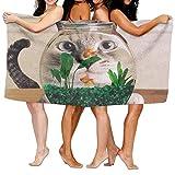 Badetücher, sehr saugfähiges Mikrofaser-Strandtuch für Männer und Frauen Kinder, süße Katze Picknickmatte