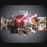 xkkzka HD Stampato su Tela Dipinto Wall Art 5 Pezzi Guerre Stellari Battle Car LuceModulare Poster Decorazione della Casa per Soggiorno-Telaio