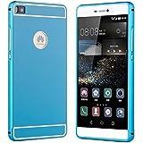 Prevoa ® 丨 Huawei P8 Funda - Metal Funda Cover Case para Huawei P8 5.2 Pulgadas Android Smartphone - Azul
