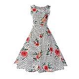 TEBAISE Sommer Frauen Konzert Formellen Anzug Vintage Druck Bodycon Sleeveless beiläufige Abendgesellschaft Prom Swing Kleid Geschichteten Rock(Rosa3,EU-38/CN-L)