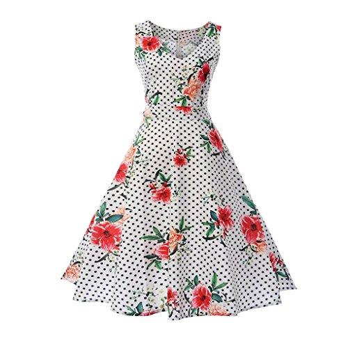(TEBAISE Sommer Frauen Konzert Formellen Anzug Vintage Druck Bodycon Sleeveless beiläufige Abendgesellschaft Prom Swing Kleid Geschichteten Rock(Rosa3,EU-38/CN-L))
