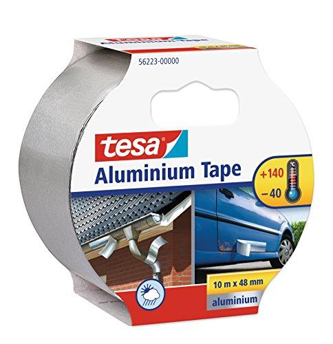 tesa Aluminiumband, selbstklebend, 10m x 50mm, silber (Temperaturbeständig Abdichten)