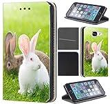 Samsung Galaxy S4 Mini Hülle von CoverHeld Premium Flipcover Schutzhülle Flip Case Motiv (1287 Haase Kaninchen Braun Weiß Grün)