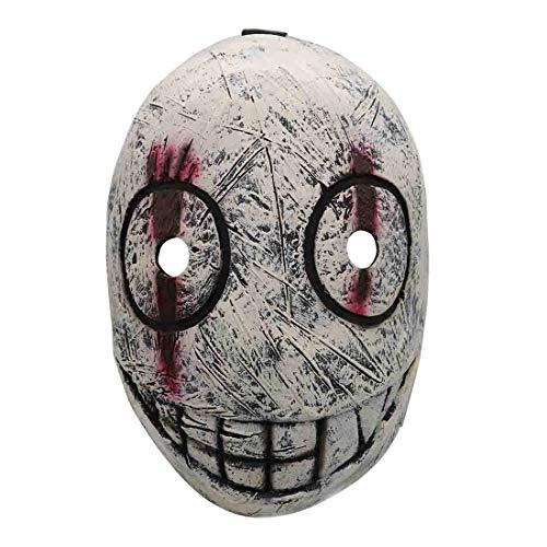 QQWE Dead by Daylight Cosplay Maske, Butcher Zombie Latex Maske, Halloween Weihnachten-Thema-Partei Cosplay-Kostüm-Stütze,Grey-OneSize (Domino's Kostüm)