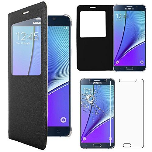 ebestStar - pour Samsung Galaxy Note5 SM-N920F Note 5 - Housse Coque Etui Slim Portefeuille avec Fenêtre View + Film protection écran en VERRE Trempé, Couleur Noir [Dimensions PRECISES de votre appareil : 153.2 x 76.1 x 7.6 mm, écran 5.7''] [Note Importante Lire Description]