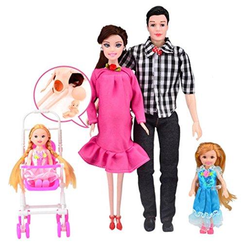 Schwangere Barbie Kostüm - HKFV Kleid echte schwangere Puppe Mama & Papa & Tochter Familie Spielzeug Set für Schwangerschaft Puppe Satz von 6 Sätzen von fünf blau Pregnant Doll (Rosa)