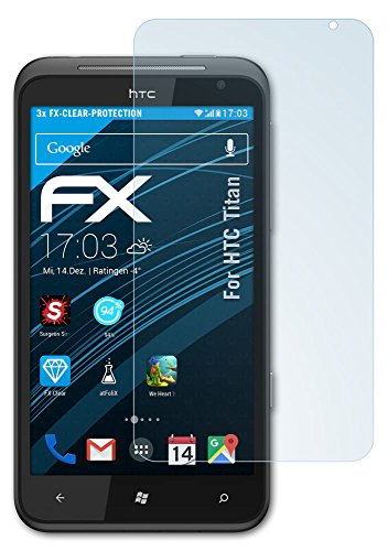 atFoliX HTC Titan Displayschutzfolie (3 Stück) - FX-Clear, kristallklare Premium Schutzfolie