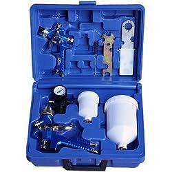 TecTake 2x Pistolas de pintar pulverizadora de pintura HVLP 1,3 + 0,8 mm maletín conjunto manómetro