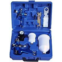 TecTake 2x Pistolas de pintar pulverizadora de pintura HVLP 1,7 + 1,0 mm maletín conjunto manómetro
