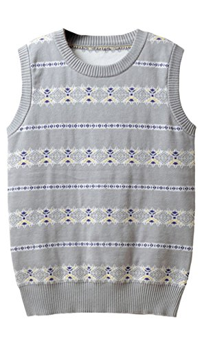 Perfashion Kids Boys Round Neck Knitted Sleeveless Sweater Jumper Grey 7-8 Years