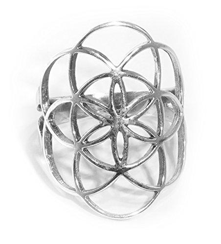 RING BLUME DES LEBENS, groß, 925 Sterling Silber, Gr. 9, 58 / 59 – Spiritualität Esoterik Astrologie Yoga Meditaion - heilige Geometrie - Schutz - Schutzsymbol - tribal - Symbolschmuck -