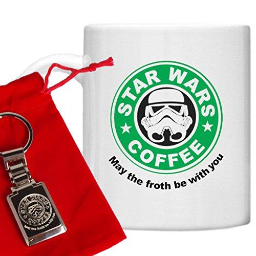 Star Wars Stil Starbucks Geschenk Set, Star Wars Tasse, Starbucks Star Wars Design, Lustige Tassen, gedruckt auf Mikrowelle & spülmaschinenfest 313ml Becher/Tasse und Star Wars/Starbucks, versilberte Gravur Schlüsselanhänger