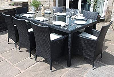 Rattan Dining Furniture Set| 8 Seater |Dining Table + 8 Chairs | Rattan Furniture