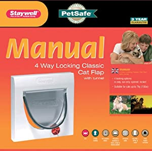 Staywell/ Petsafe Manual 4-Way Locking Classic Cat Flap with Tunnel, White by PETLR