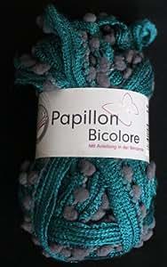 Grundl 3338-114 50 g Papillon Pelote de laine bicolore, Mélange bleu sarcelle/gris