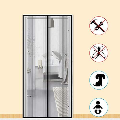 Zalava Fliegengitter Balkontür Fliegengitter Tür insektenschutz tür für Tür Balkontür Wohnzimmer Terrassentür 100x210 cm/110x220 cm /120x240cm/160x230cm, Klebmontage ohne Bohren (100x210 cm, Schwarz)