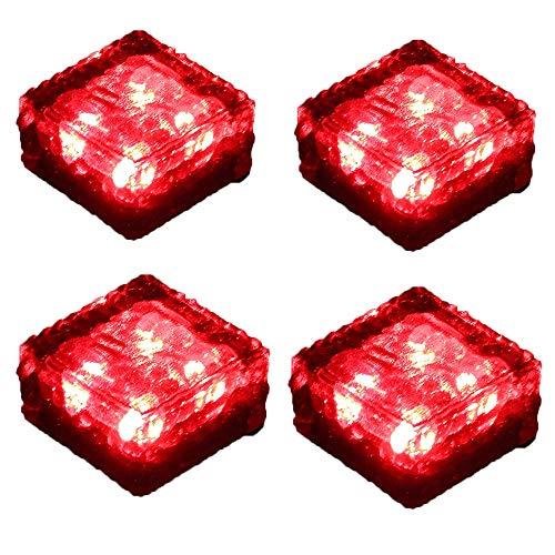 ZJRA Solar Floor-Embedded Pathway Licht, 4 LED Auto on/Off, Glas Ice Cube Rocks Farbe Crystal Underground Lampe Geschenk Glühend (Set Von 4), Rot -