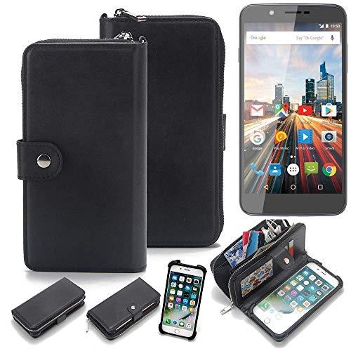K-S-Trade 2in1 Handyhülle für Archos 55 Helium Ultra Schutzhülle und Portemonnee Schutzhülle Tasche Handytasche Case Etui Geldbörse Wallet Bookstyle Hülle schwarz (1x)