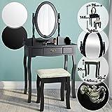 Miadomodo Coiffeuse avec Miror Inclinable et Tabouret | Tiroir, 76x40x146cm, Noir et Blanc | Meuble, Table de Maquillage, Secrétaire (Noir)