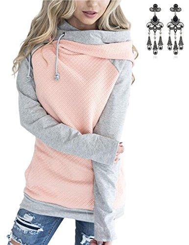 MODETREND Donna Felpa Con Cappuccio Colore A Contrasto Fold Collare Manica Lunga Maglie Pullover Hoodie Sweatshirt Sportswear Autunno Inverno Rosa
