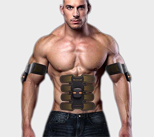 WJW EMS Bauchmuskel Trainer Body Toning Fitness Muskelaufbau Gürtel ABS Fit Gewicht Muskel Toner/Tragbares USB-Ladegerät,Yellow