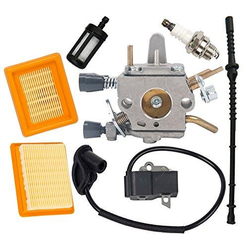OuyFilters Carburetor with Fuel Filter Fuel Line Ignition Coil Kit for Stihl FS120 FS200 FS250 FS300 FS350 String Trimmer brush cutter