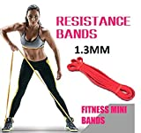 GETKO WITH DEVICE Fitness Rubber Bands Resistance Band Unisex Yoga, Gym Athletic Assisted Pull Up Bands Loop Expander for Exercise Sports Equipment (Red, 1.3 mm)