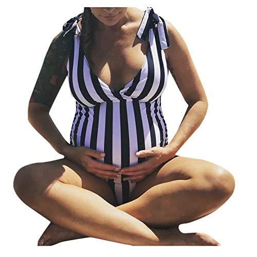 Overmal Umstands-Bademode Mutterschaft Tankinis Frauen Strip-Druck Bikinis Badeanzug Beachwear Schwangere Anzug Schwangerschafts Tankini Damen Sommer Bademode Push Up Sexy Badebekleidung