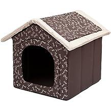 Hobbydog Caseta para Perros M R2 marrón con Huesos (44 x 38 x 45 cm