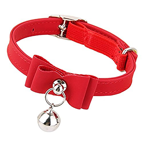 mi ji Krawatte, verstellbar, Cat Velvet Bow Bell Bowtie Pet Butterfly Knot PU Leder Halsband Rot 1Pc -