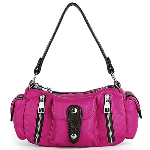 UTO Damen Handtasche klein Purse PU Leder Hobo Stil Schultertasche Pink (Handtasche Stil Hobo)