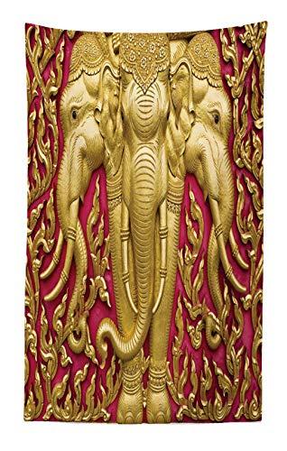 ABAKUHAUS Elefante Tapiz de Pared y Cubrecama Suave, Motivo de Elefante en Tonos Amarillos Puerta Templo Thai Espiritualidad Estatua, Colores Firmes y Durables, 140 x 230 cm, Fucsia