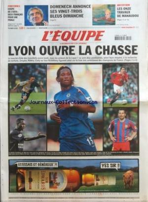 EQUIPE (L') [No 18942] du 10/05/2006 - FOOTBALL - COUPE DE L'UEFA - DEUX FRANCAIS POUR UNE FINALE - DOMENECH ANNONCE SES VINGT-TROIS BLEUS DIMANCHE - NATATION - LES ONZE TRAVAUX DE MANAUDOU - LYON OUVRE LA CHASSE