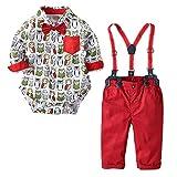 Zarupeng Kleinkind Baby Jungen Cartoon Body Overall Trägerhose Langarm Hemd T-Shirt Kleidung Gentleman Shirt Hose Fliege Sets