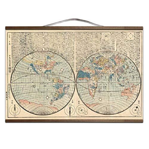 Wsxwga Alte Vintage Karte der Welt Leinwand Malerei Kunst Poster und Drucke mit Massivholz hängen Scroll Wandbilder für Wohnzimmer B 60 * 90cm