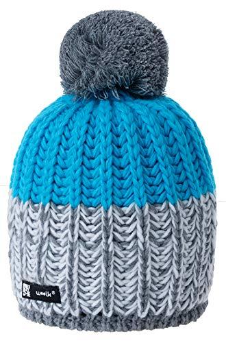 4sold Warm Unisex Wintermütze Mütze Farbe Beanie Plissee Gestrickte Plain Fleece Futter Große Faux Pom Pom Cap Ski Snowboard Bobble (Neon Blue)