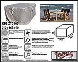 RDS210165 Schutzhülle für Gartenmöbel-Set mit 1 Gartentisch und 4 - 6 Hochlehner. Abdeckung Gartenmöbel, Schutzhülle Gartenmöbel und Abdeckplane für Sitzgarnituren, Abdeckung Gartengarnitur