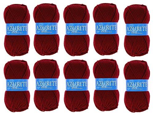 Lot 10 Pelotes de laine Azurite 100% Acrylique Tricot Crochet Tricoter - Rouge - 3025