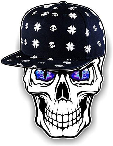 Gothic Totenkopf design tragen Hipster Hip Hop Rapper Kappe mit blau Bösartig Augen Motiv Für Biker Skate-vorstand Vinyl Autosticker Aufkleber 100x78mm by CTD Vorstand Wasser