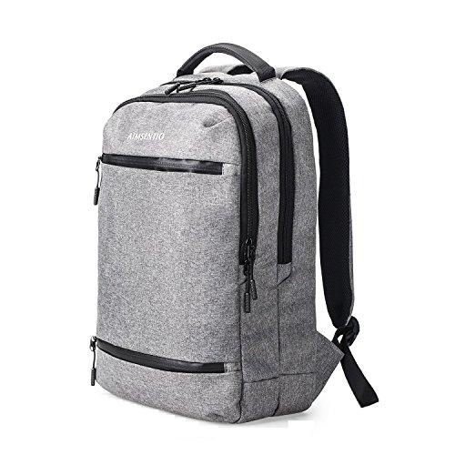 Aimsentio Travel Rucksäcke Schultasche Grau Tagesrucksack Casual Herren Damen Jungen Mädchen Passt 13,3zu 39,6cm Laptop MacBook -
