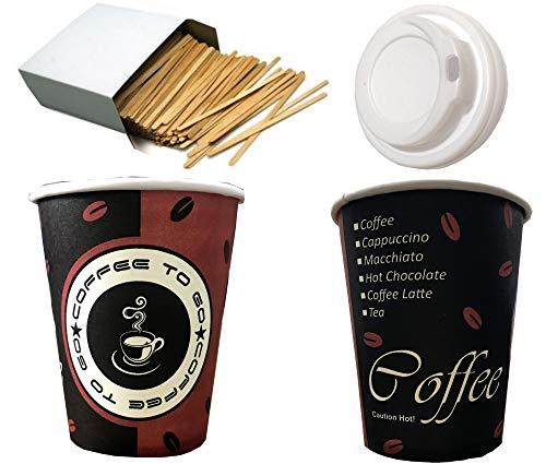 Trendsky 200 Stück Kaffeebecher Coffee to go 300 ml mit Deckel + Rührstäbchen,Becher für Kaffee/Tee,300ml Hartpapier Einweg Pappbecher 0,3l,12oz.