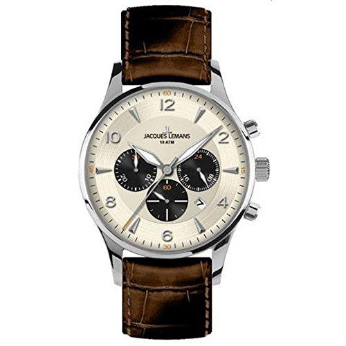 Jacques Lemans Herren-Armbanduhr XL london classic Chronograph Quarz Leder 1-1654E