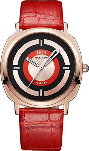 Angela Bos de cuarzo japonés de las mujeres reloj de pulsera para mujer de cuero de la hebilla Anolog Luminated puntero 8007 banda de la muñeca de color rojo