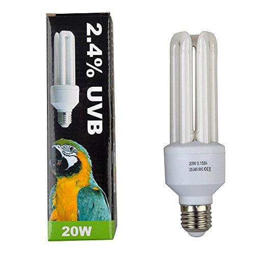Lucky Herp Compact Bird Lamp, 2.4% UVB, 20W,E27 Screw Thread
