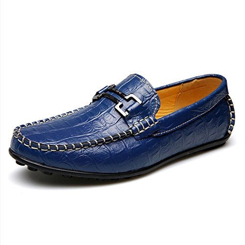 Sunny&Baby Hommes Classique Chaussures Crocodile Grain Peau Texture Véritable Cuir Semelle Plate Souple Casual Mocassin pour Messieurs Résistant à labrasion ( Color : Brown , Size : 43 EU ) Blue