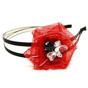 rougecaramel - accessoires cheveux - Serre tête/headband perlé double rangs - rouge vif